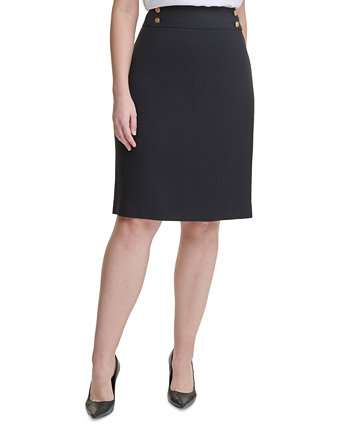 Plus Size Button-Trim Pencil Skirt Calvin Klein