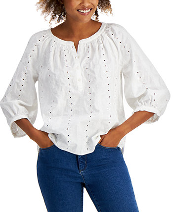 Embroidered Cotton Poplin Top, Created for Macy's Charter Club