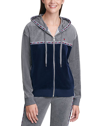 Velour Colorblocked Graphic Hoodie Tommy Hilfiger