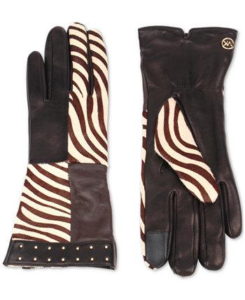 Zebra Patchwork Gloves Michael Kors