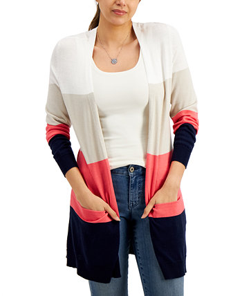 Open-Front Colorblocked Cardigan, Created for Macy's Style & Co