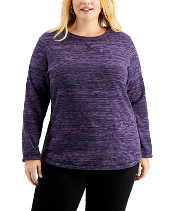 Plus Size Space-Dyed Microfleece Top, Created for Macy's Karen Scott