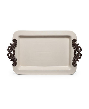 23.75-Inch Long Cream Ceramic Tray with Acanthus Leaf Styled Metal Handles The GG Collection