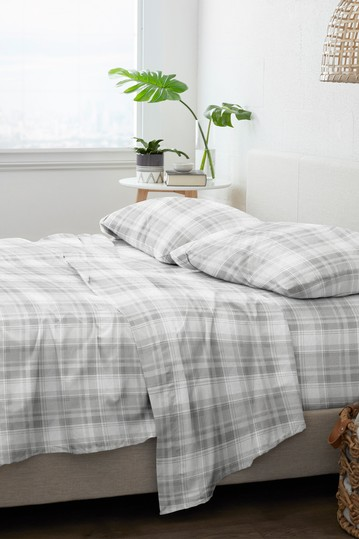 Home Collection Premium Plaid 4-Piece Flannel Bed Sheet Set - Light Gray IENJOY HOME