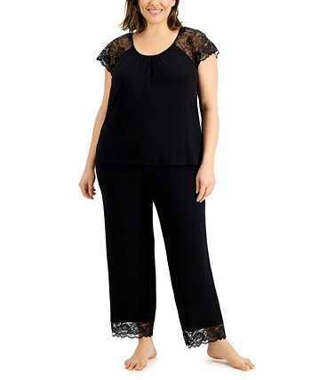 Plus Size Lace-Trim Pajamas Set, Created for Macy's Charter Club