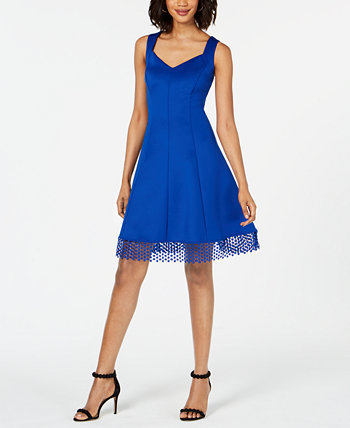 Lace-Trim Fit & Flare Dress Donna Ricco