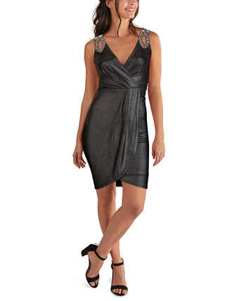 Embellished Faux-Wrap Dress GUESS