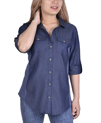 Women's 3/4 Roll Tab Sleeve Denim Y-Neck NY Collection