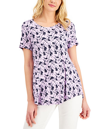Petite Printed Short-Sleeve Shirt, Created for Macy's J&M Collection