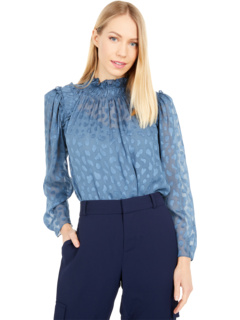 Long Sleeve Leopard Clip Blouse Rebecca Taylor