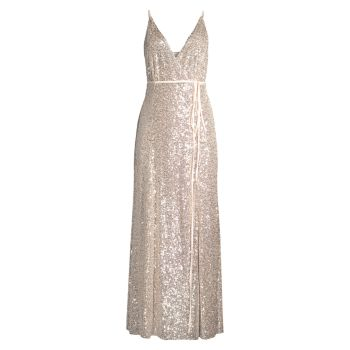 The Kirrily Sequin Wrap Dress FAME AND PARTNERS