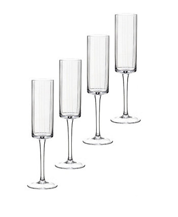 Trilogy Flute Crystal Stemware, Set of 4 Qualia Glass