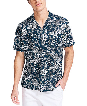 Men's Big & Tall Classic-Fit Tropical-Print Camp Shirt Nautica