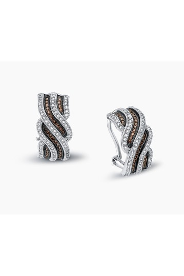 Platinum Plated Sterling Silver Pave Simulated Diamond Chocolate Wave Earrings LaFonn