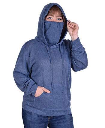 Women's Plus Size Long Sleeve Burnout Hoodie NY Collection