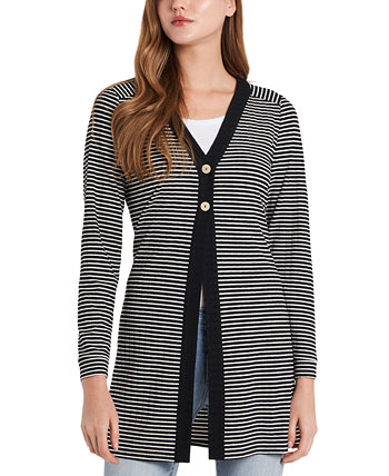 Striped Ribbed Cardigan Vince Camuto