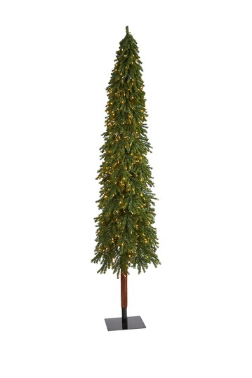9ft. Grand Alpine Artificial Christmas Tree with 600 Clear Lights on Natural Trunk NEARLY NATURAL
