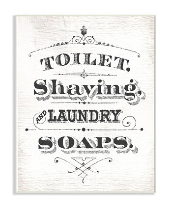 "Vintage-Like toilet Shaving Laundry and Soaps Typography Sign Wall Plaque Art 12.5"" L x 0.5"" W x 18.5"" H Stupell Industries"