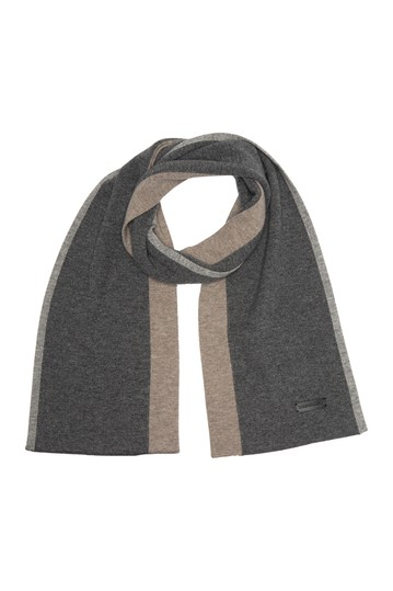 Wool Blend Colorblock Ribbed Knit Scarf Bruno Magli