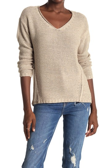 V-Neck Faux Suede Elbow Patch Tunic Sweater Modern Designer