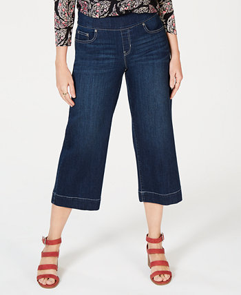 Wide-Leg Cropped Pull-On Jeans, Created for Macy's Style & Co