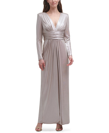 V-Neck Metallic Gown Vince Camuto