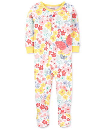 Baby Girls Floral-Print Butterfly Cotton Pajamas Carters
