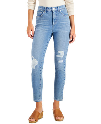 Plus Size Distressed Slim-Fit Ankle Jeans, Created for Macy's Style & Co
