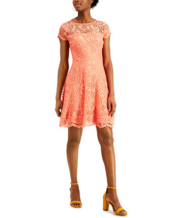 Floral-Lace Fit & Flare Dress Kensie