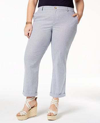 Plus Size Pinstripe Ankle Pants, Created for Macy's Tommy Hilfiger