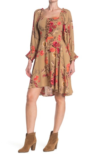Long Sleeve Printed Tie Front Dress Angie