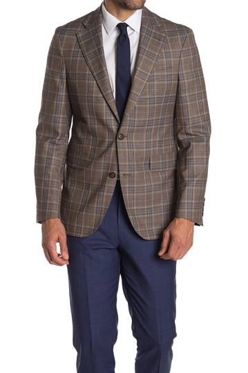 Brown Plaid Two Button Notch Lapel Wool Sport Coat Strong Suit