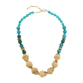 Turquoise-Color Stone & Raffia Floral-Accented Necklace AKOLA