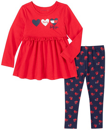 Little Girls Two Piece Knit Tunic Top with Hearts Print Leggings Set Tommy Hilfiger