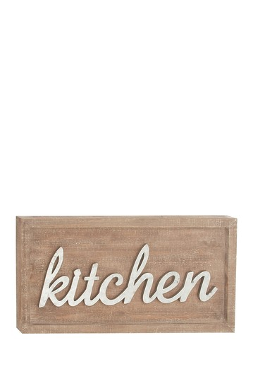 Rustic Fir Wood & Iron Kitchen Wall Sign Willow Row