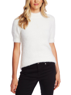 Short Sleeve Mock Neck Eyelash Sweater CeCe