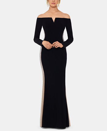 Beaded Off-The-Shoulder Gown XSCAPE