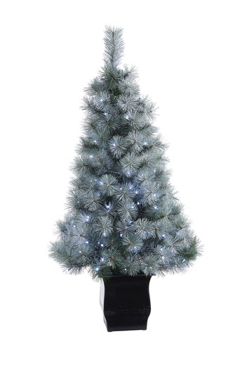 4ft. Snowy Mountain Pine Artificial Christmas Tree with 150 LED Lights and Decorative Planter NEARLY NATURAL