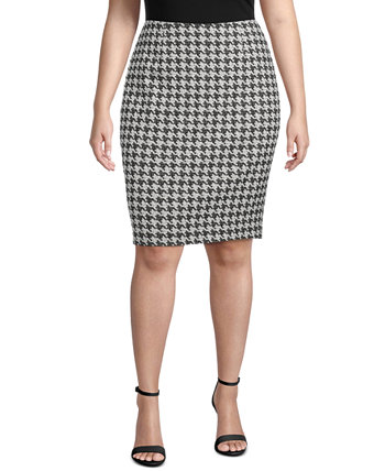 Plus Size Houndstooth Jacquard Slim Skirt Kasper