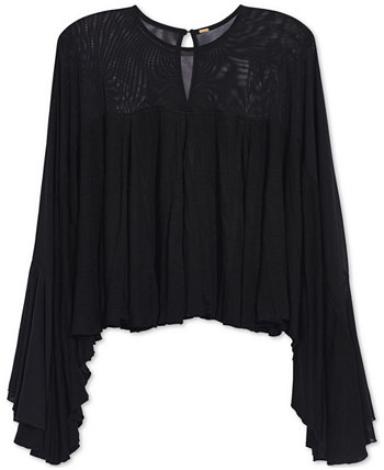 On The Weekend Sheer-Contrast Top Free People