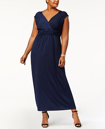 Plus Size Ruched Empire Maxi Dress NY Collection