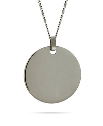 Men's Large Stainless Steel Round Tag on Curb Chain Necklace Eve's Jewelry