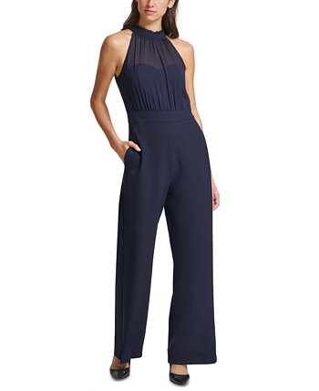 Chiffon-Topped Crepe Halter Jumpsuit Vince Camuto