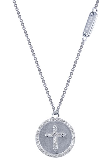 Sterling Silver Sentimedals Cross Simulated Diamond Necklace LaFonn