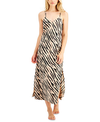 INC Satin Zebra-Print Long Chemise Nightgown, Created for Macy's INC International Concepts