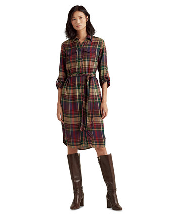 Plaid Twill Shirtdress Ralph Lauren