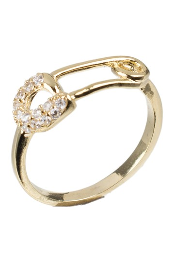 18K Yellow Gold Plated Pave CZ Safety Pin Band Ring CZ By Kenneth Jay Lane