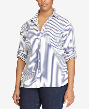 Plus Size Striped Roll-Tab Shirt Ralph Lauren