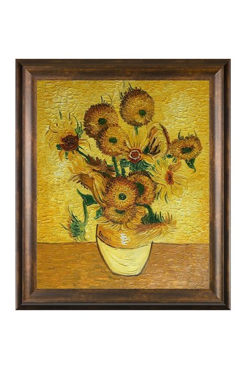"""Vase with Fifteen Sunflowers with Modena Vintage , 25"""" x 29"""" No brands"""