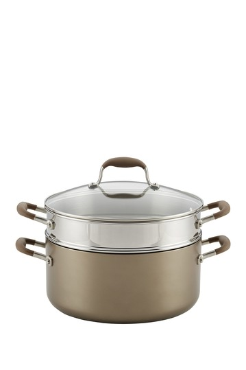 Advanced Umber 8.5 Qt. Covered Wide Stockpot w/Multi Function Insert Anolon